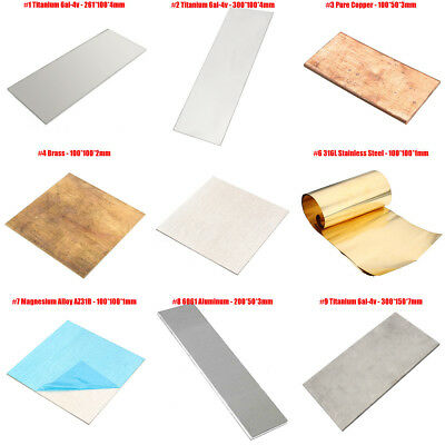 9 Sizes  6AL4V Alloy Brass Titanium Metal Sheet Plate for Metalworking Craft