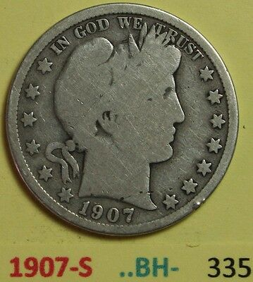 1907-S US Barber silver Half Dollars in Good Condition -- Photos BH- numbers