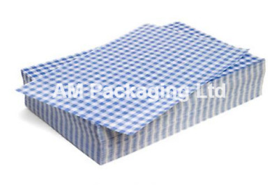 """*Duplex 40gsm BLUE Gingham Paper Sheets Size 10x15"""" Food Wrapping 10kg HDS0060B"""