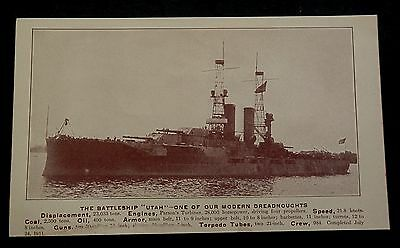 """Pic BATTLESHIP """"UTAH""""  Dreadnought Completed July 24, 1911"""