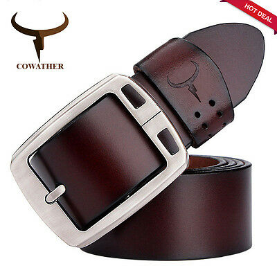 The Original COWATHER Quality Mens Leather Belt Pin Buckle, Size 28 - 48+