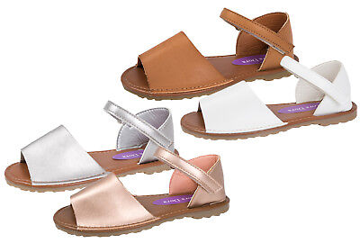 Girls Faux Leather Menorcan Sling Back Sandals Summer Beach Party Shoes Size