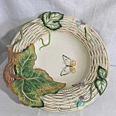 Fitz & Floyd Old World Rabbits Butterfly Serving Bowl Retired NIOB 73 / 301