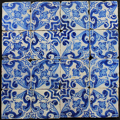 16 Portuguese blue / white tiles from 17th century panel #4