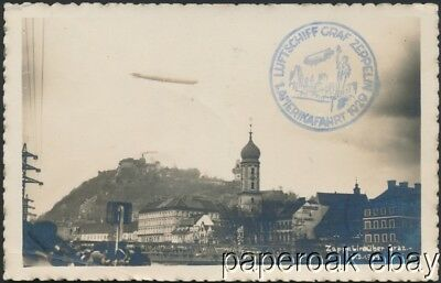 1929 Real Photo Postcard Flown On Graf Zeppelin To United States