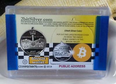 2BitSilver - BITCOIN WALLET w/REAL U.S. SILVER QUARTER (PROOF) - Cold Storage+