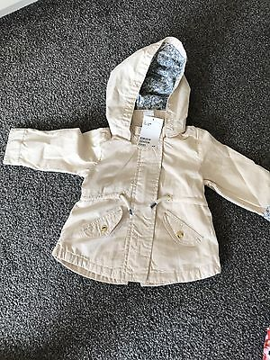 Baby Girl Cotton Parka Coat From H&M Size 6-9 Months BNWT