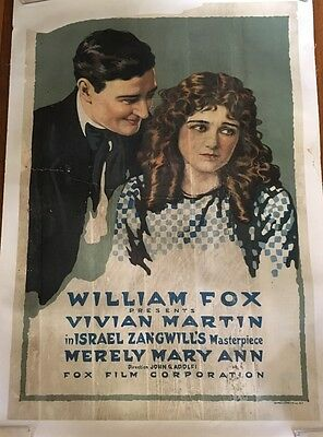 ORIGINAL 1916 MERELY MARY ANN MOVIE POSTER, VIVIAN MARTIN - 1 SHEET LINEN 32x44