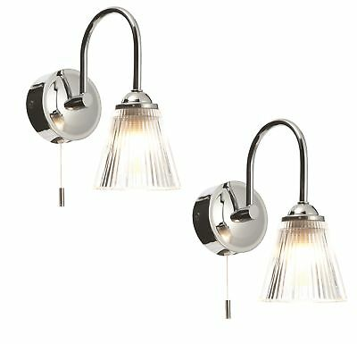 Pair of Chrome & Ribbed Glass IP44 Bathroom Wall Lights With Pull Cord Switches