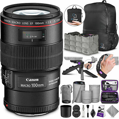 Canon EF 100mm f/2.8L IS USM Macro Lens with Essential Accessories Bundle