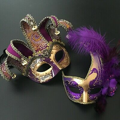 Purple Accent Glitter Half face Jolly Jester & Feather Masquerade Prom Mask