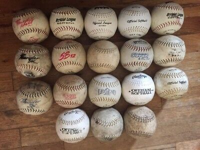 Huge Lot Of 18 Well Used Dudley & Mixed Brands White Slow Pitch Softballs