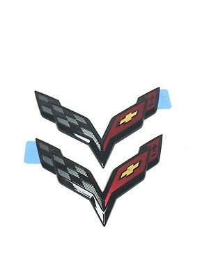 Chevrolet Corvette C7.R Z06 Front & Rear Bumper Emblem Badge (2pc) New OEM