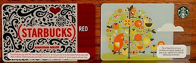 Two 2010 Starbucks Gift Cards: Jonathan Adler RED And SPRING TREE OF LIFE...New