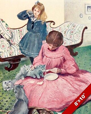 Victorian Women Feeding Cats Kitten Pet Animal Art Painting Real Canvas Print