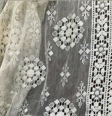 """Antique 1930s French Fine Filet Lace Cotton Net Panel Table Cloth Fabric 38x34"""""""