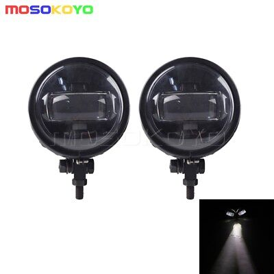 Street Fighte LED Auxiliary Spot Fog Passing Lights Lamps Pair Harley Cafe Racer