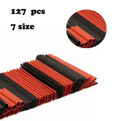 127Pcs 7 Size Mix Heat Shrink Sleeve Electrical Cable Tube Tubing Wrap Wire kl