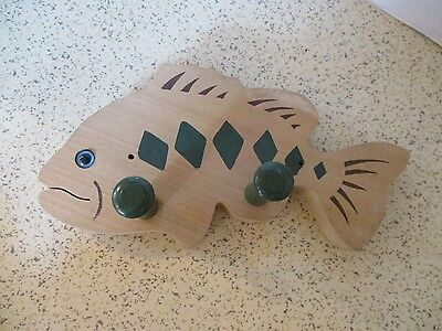 """Vintage Double Wall Hook, Coat Or Hat Rack, Wood, Fish, Green Details, 10"""" X 5"""""""