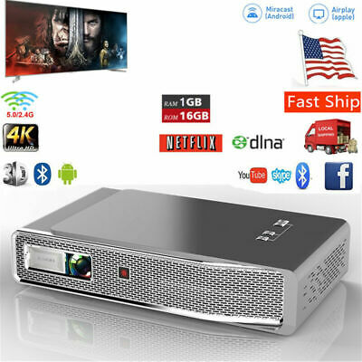 7100 Lumens Full HD 1080P 4K DLP Projector Home Theater 3D Cinema HDMI Wifi VGA