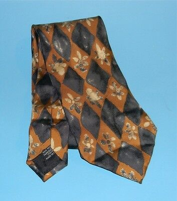 Boss Hugo Boss Neck Tie / Gold & Blue Floral Print All Silk Made in Italy LUXURY