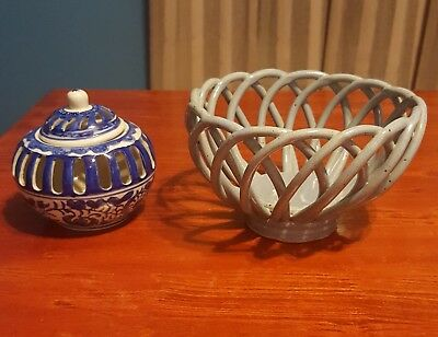 1 ceramic basket and 1 porcelein Two's Company dish with lid