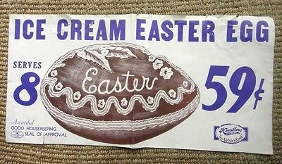"vintage ORIG. HENDLERS ICE CREAM shoppe EASTER EGG PAPER POSTER SIGN  12.5""x25"""