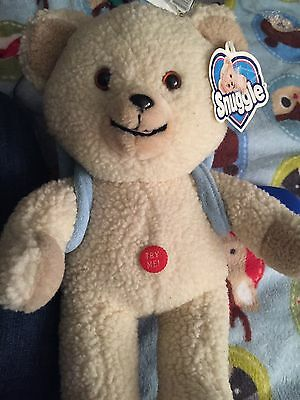 Talking Snuggle Fabric Softner Plush Bear With Tags & Back Pack 2000