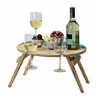 Foldable Wine Table - Round Blue Bay