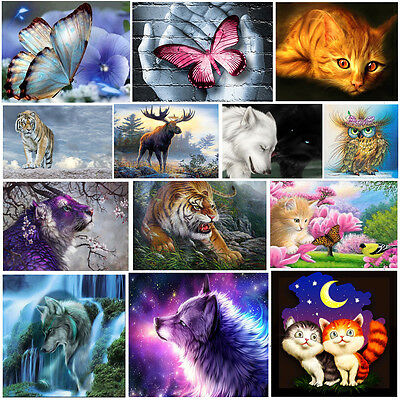 Animal DIY 5D Diamond Embroidery Flower Painting Cross Stitch Kit Home Decor