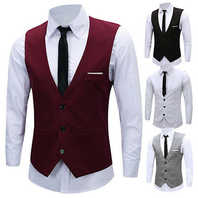 Men Classic Formal Business Slim Fit Chain Dress Vest Suit Tuxedo Waistcoat Sauc