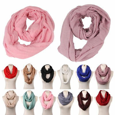Women Warm Cotton Infinity Scarf Loop Cowl Neck Plain Wrap Shawl Circle Snood UK