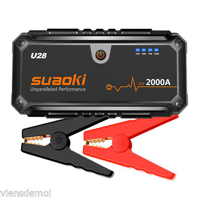 Suaoki U28 2000A Peak Jump Starter Pack with USB Power Bank LED FOR 12V Car/Boat