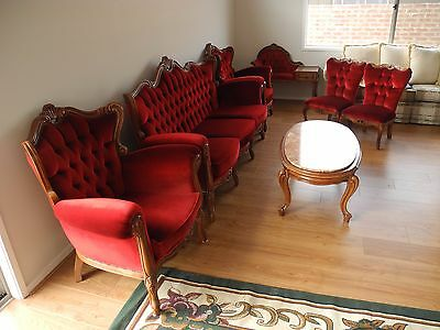 Antique French Louis Style Mahogany Lounge Suite,Chaise, marble top cofee table