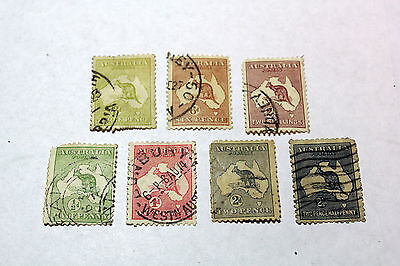 Lot of 7 Australia  Postal  Postage Stamps Early Kangaroo  Collection    AUS011