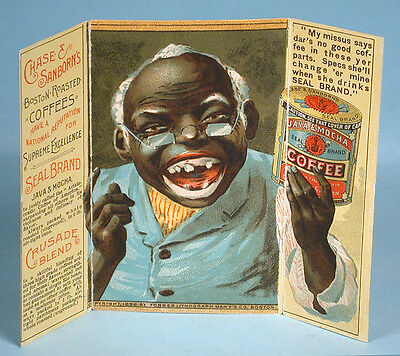 1888 Chase & Sanborn Coffee Fold-out Advertising Trade Card Black Stereotype