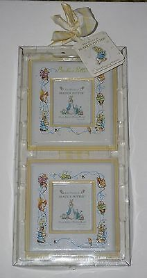 Beatrix Potter NIP Peter Rabbit Yellow Double Hanging Picture Frame Baby Nursery