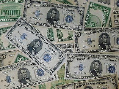 $5.00 Five Dollar Bill Blue Usa Silver Certificate Old Vintage Currency