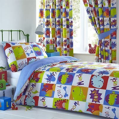 Young Dinosaurs Boys Girls Kids Reversible Duvet Cover Bedding Curtain Set