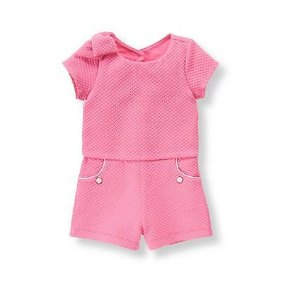 Janie and Jack Quilted Jacquard Pink Romper 5 New NWT $54