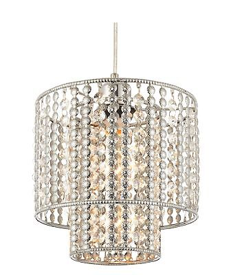 Two Tier Clear Glass & Chrome Beads Easy Fit Light Shade Ceiling Chandelier
