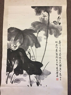 Beautiful Large Antique Chinese Painting Scroll Of Lotus And Bird, Signed