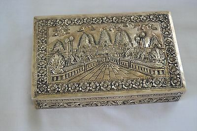 Cambodian Pure Silver Box Depicting Angkor Wat