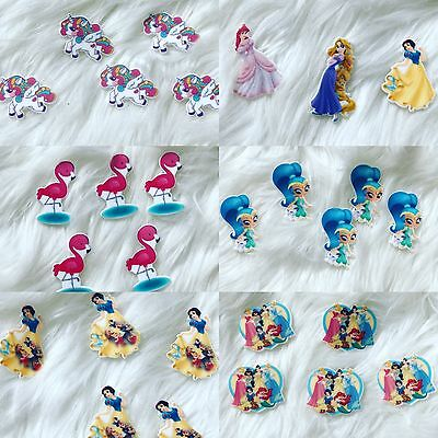 5 Pieces Resin Disney Character Flat back Embellishment For Craft Bow Maker DIY