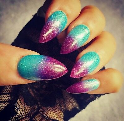 Hand Painted False Nails Stiletto Full Cover Tips - Press On Nails