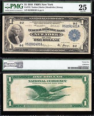 VERY NICE Mid-Grade VF 1918 *NEW YORK* $1 GREEN EAGLE FRBN! PMG 25! B52092401A