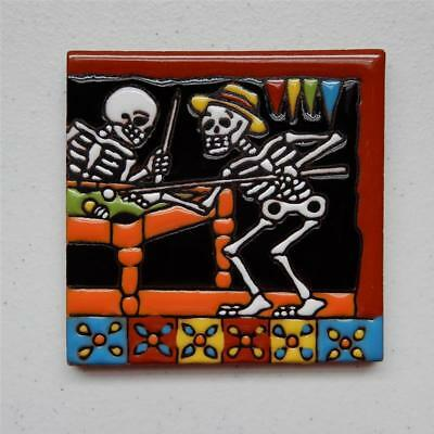 "Talavera Tile, ""Day of the Dead Catrin Playing Pool"" Made in Puebla"