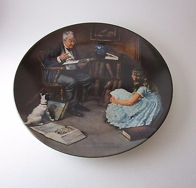 The Storyteller Norman Rockwell Collector Plate 8 1/2 Inch Numbered Certificate