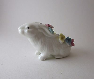 Rabbit and Flowers Vintage Porcelain Ardalt Pin Cushion 3 1/2 Inches Long