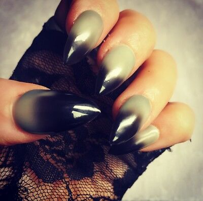 Hand Painted False Nails Black/Grey Stiletto Full Cover Tips - Press On Nails